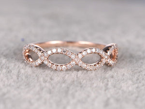 Natural Diamond Wedding Ring,Solid 14K Rose gold Band,Anniversary Ring,Curved,Loop Flower Floral,stackable,Valentine's Gift,Fine Fashion