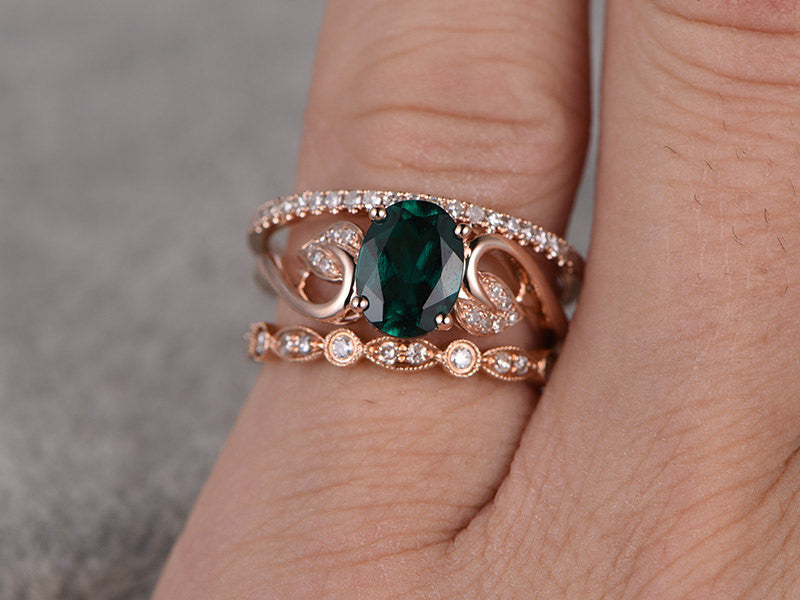 05c26b4afc76f2 ... 3pcs Emerald Engagement ring Set!14k rose gold,Diamond wedding band,6x8mm  Oval ...