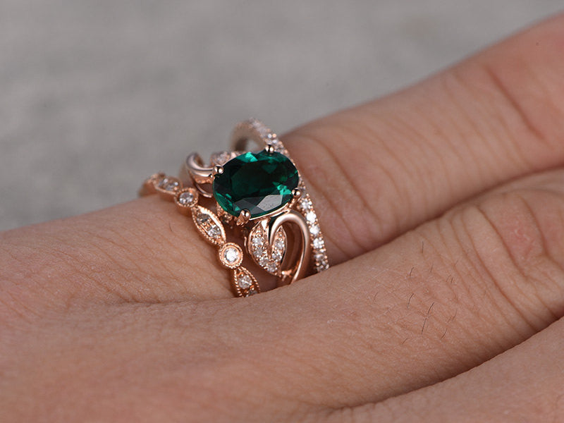 b8a3ceecdb7b8c ... 3pcs Emerald Engagement ring Set!14k rose gold,Diamond wedding band,6x8mm  Oval
