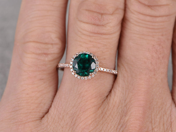 7mm green Emerald Engagement ring Rose gold,Diamond wedding band,14k,Round Cut,Gemstone Promise Bridal Ring,Halo,Anniversary