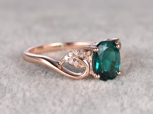 6x8mm Oval Cut Treated Emerald ring,Diamond wedding band,14K Rose Gold,Gemstone Promise Bridal Ring,Vivid Green,Propose ring,Floral,Filigree