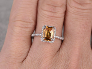 6x8mm Natural Citrine Bridal Ring,Engagement ring,14k White gold,Diamond wedding band,Claw prongs,Emerald Cut,Gemstone Promise Ring,Pave Set