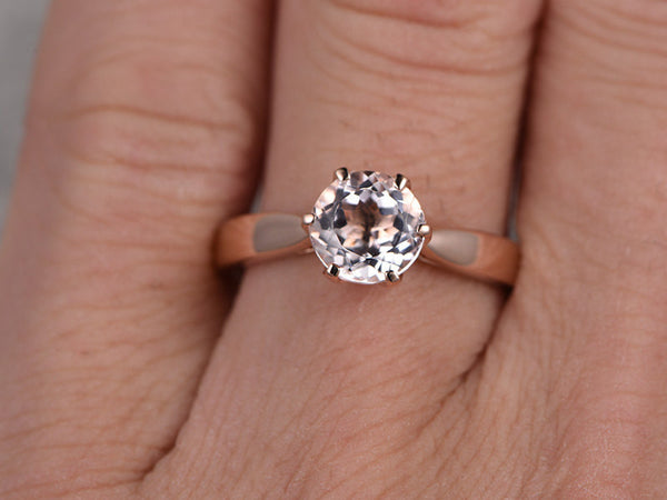 7mm Morganite Engagement ring Rose gold,Solitaire wedding band,14k,Round Cut,Gemstone Promise Bridal Ring,Stacking ring,pink morganite