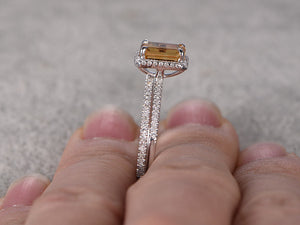 2pcs 6x8mm Natural Citrine Bridal Ring Set,Engagement ring,14k White gold,Diamond wedding band,Claw prongs,Emerald Cut,Gemstone Promise Ring