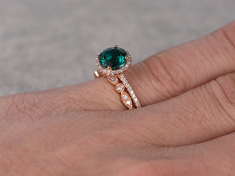 2pcs 7mm Green Emerald Engagement ring Rose gold,Diamond wedding band,14k,Round Cut,Gemstone Promise Bridal Ring,Halo,Anniversary