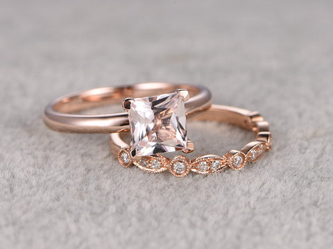 2pcs Morganite Bridal Ring Set,Engagement ring Plain Rose gold,Diamond wedding band,14k,6.5mm Princess Cut,Gemstone Promise Ring,Art Deco