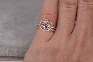 2pcs Morganite Bridal Ring Set,Engagement ring Rose gold,Diamond wedding band,14k,8mm Round Cut,Gemstone Promise Ring,Art Deco Eternity Band