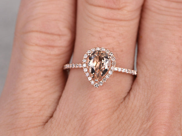 Payment plan for special customer:6x8mm pear cut morganite engagement ring,Diamond wedding band,14k rose gold,size 6