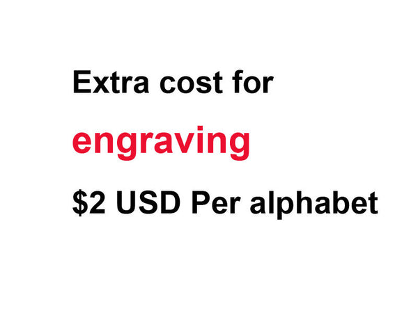 Extra cost for engraving  Per alphabet,for engagement ring,wedding band,pendant,any jewelry