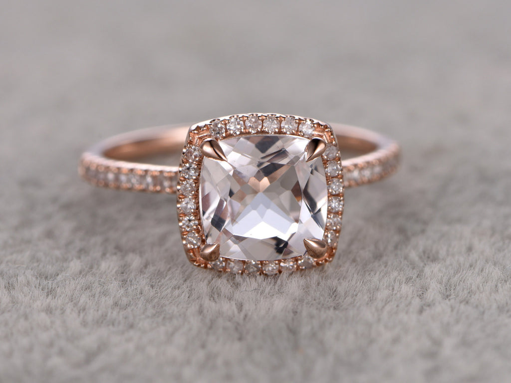 8x8mm Morganite Engagement ring Rose gold,Diamond wedding band,14k,Cushion Cut,Gemstone Promise Bridal Ring,Claw Prongs,Pave,Handmade