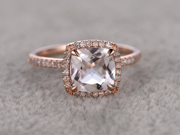 8x8mm Morganite Engagement ring Rose gold,Diamond wedding band,14k,Cushion Cut,Gemstone Promise Bridal Ring,Claw Prongs,Pave Set,Handmade