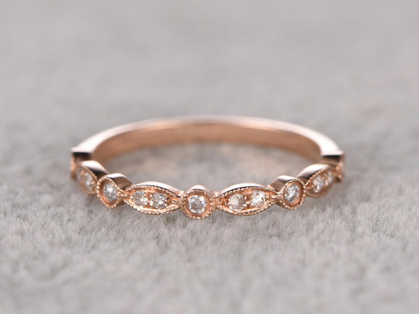 Diamond Wedding Ring,Solid 14K Rose gold,Anniversary Ring,Art deco Marquise style,Stacking,Half Eternity,stacking,milgrain,Matching band