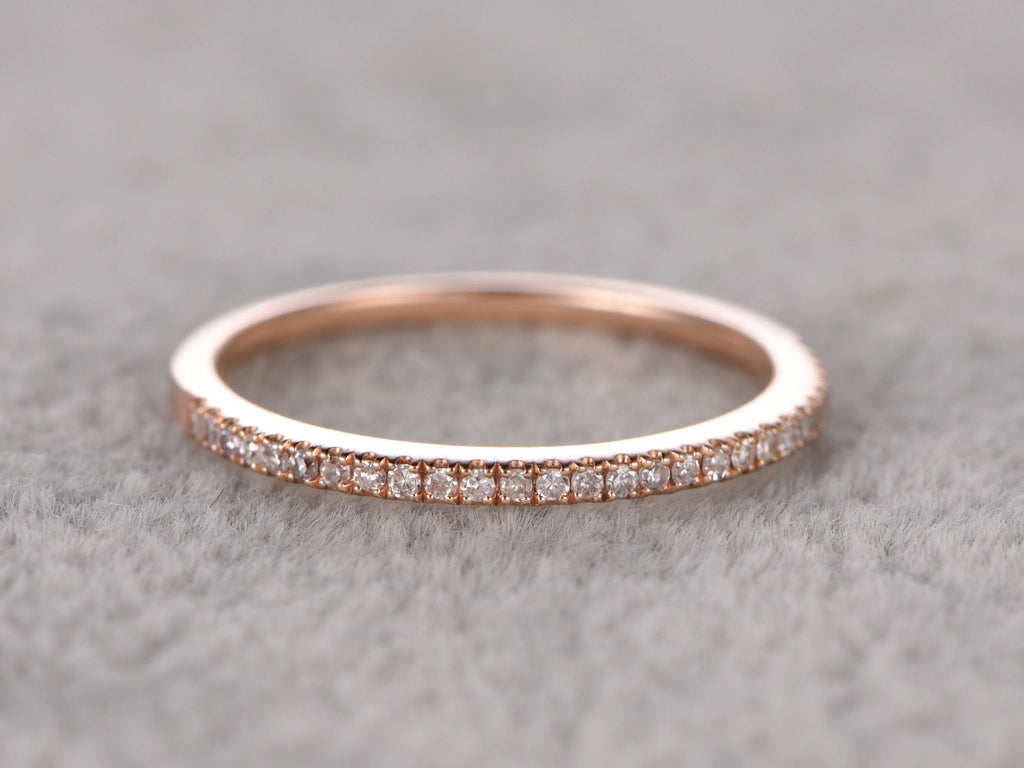 Thin design,Diamond Wedding Ring,Solid 14K Rose gold,Anniversary Ring,Half Eternity Band,stackable ring,milgrain,Matching band,Micro pave
