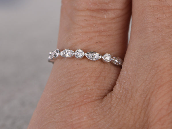 Natural White Sapphire Full Eternity Wedding Ring,14K White gold,Anniversary Ring,Art deco style,stackable ring,milgrain,Royal Retro vintage
