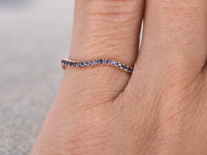 Unique Curved Design,Natural Blue Sapphire Wedding Ring,Solid 14K Yellow gold,Anniversary Ring,Full Eternity Band,engagement ring,Pave set
