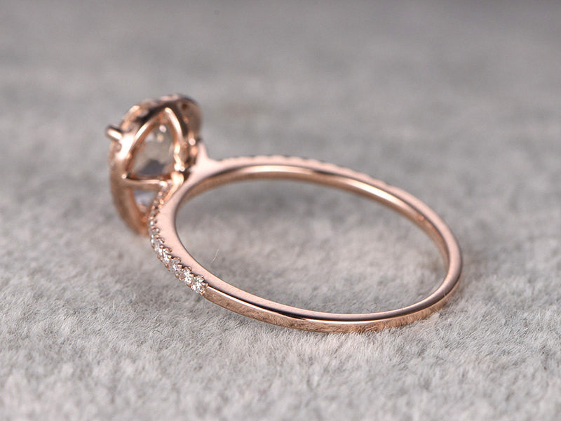 Payment plan for special customer:6x8mm pear cut morganite engagement ring,Diamond wedding band,14k rose gold,size 5