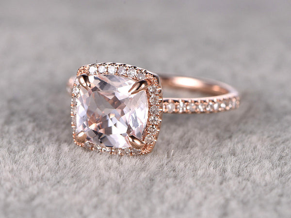 9mm Morganite Engagement ring Rose gold,Diamond wedding band,14k,Cushion Cut,Gemstone Promise Bridal Ring,Claw Prongs,Pave Set,Handmade