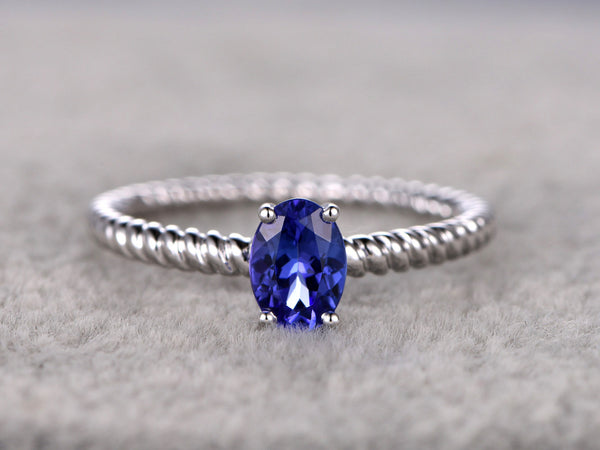 Tanzanite Engagement ring,Solitaire wedding band,14K White Gold,Blue Gemstone Filigree