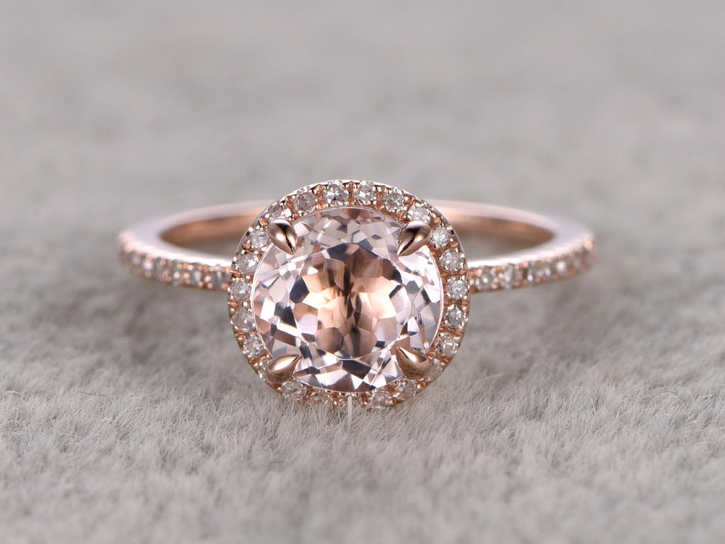 7mm Morganite Engagement ring Rose gold,Diamond wedding band,14k,Round Cut,Gemstone Promise Bridal Ring,Claw Prongs,Pave Set,Handmade