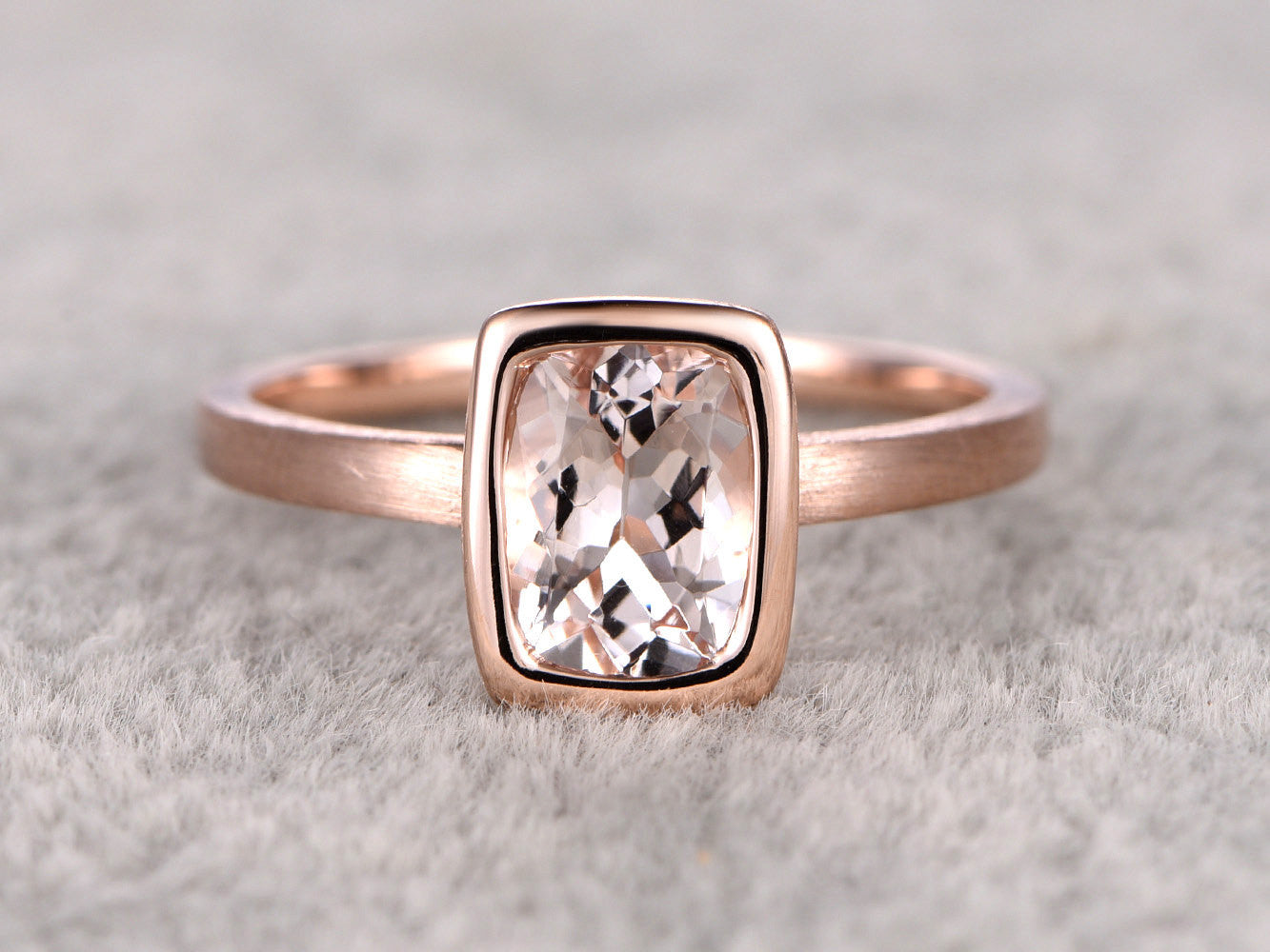 6x8mm Morganite Solitaire Engagement ring Rose gold,Plain gold wedding band,14k,cushion Cut,Promise Bridal Ring,Bezel,pink,Sand band design