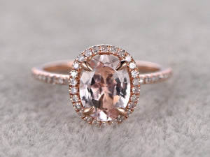 6x8mm Morganite Engagement ring Rose gold,Oval Cut,Halo Half Eternity
