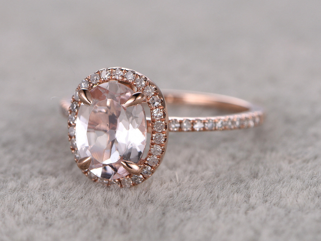 6x8mm Morganite Engagement ring Rose gold,Diamond wedding band,14k,Oval Cut,Gemstone Promise Bridal Ring,Claw Prongs,Halo Half Eternity