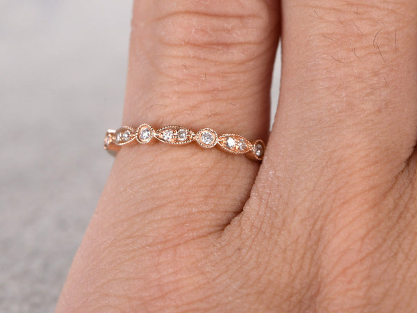 Moissanite Wedding Ring,Solid 14K Rose gold,Anniversary Ring,Art deco Marquise style,Stacking,Half Eternity,stacking,milgrain,Matching band