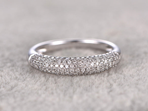 Classic Design!Diamond Wedding Ring,Solid 14K White gold,0.45ctw Diamonds,Anniversary Ring,engagement ring,Matching band,Fine Fashion,Pave
