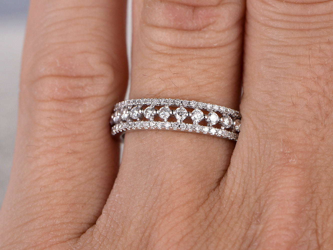 Stacking Diamond Wedding Ring,Solid 14K White gold,1.10ctw Diamonds,Anniversary Ring,Eternity Band,engagement ring,Matching band,Fine design