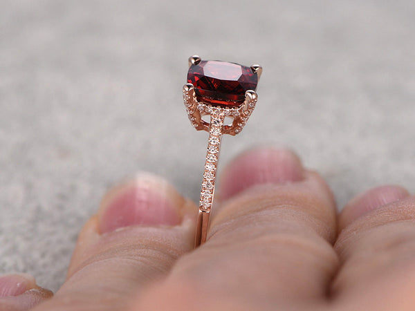 8mm Cushion Garnet Engagement ring,Diamond wedding band,14K Rose Gold,Red stone Promise Ring,Bridal Ring,Birthstone Stacking Ring,Fine