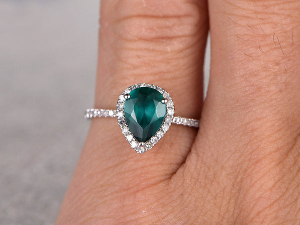 Emerald Engagement ring White gold,Halo Diamond,wedding ring,14k,6x8mm Pear Shaped Cut,Green Treated Gemstone Promise,Anniversary Ring,Fine