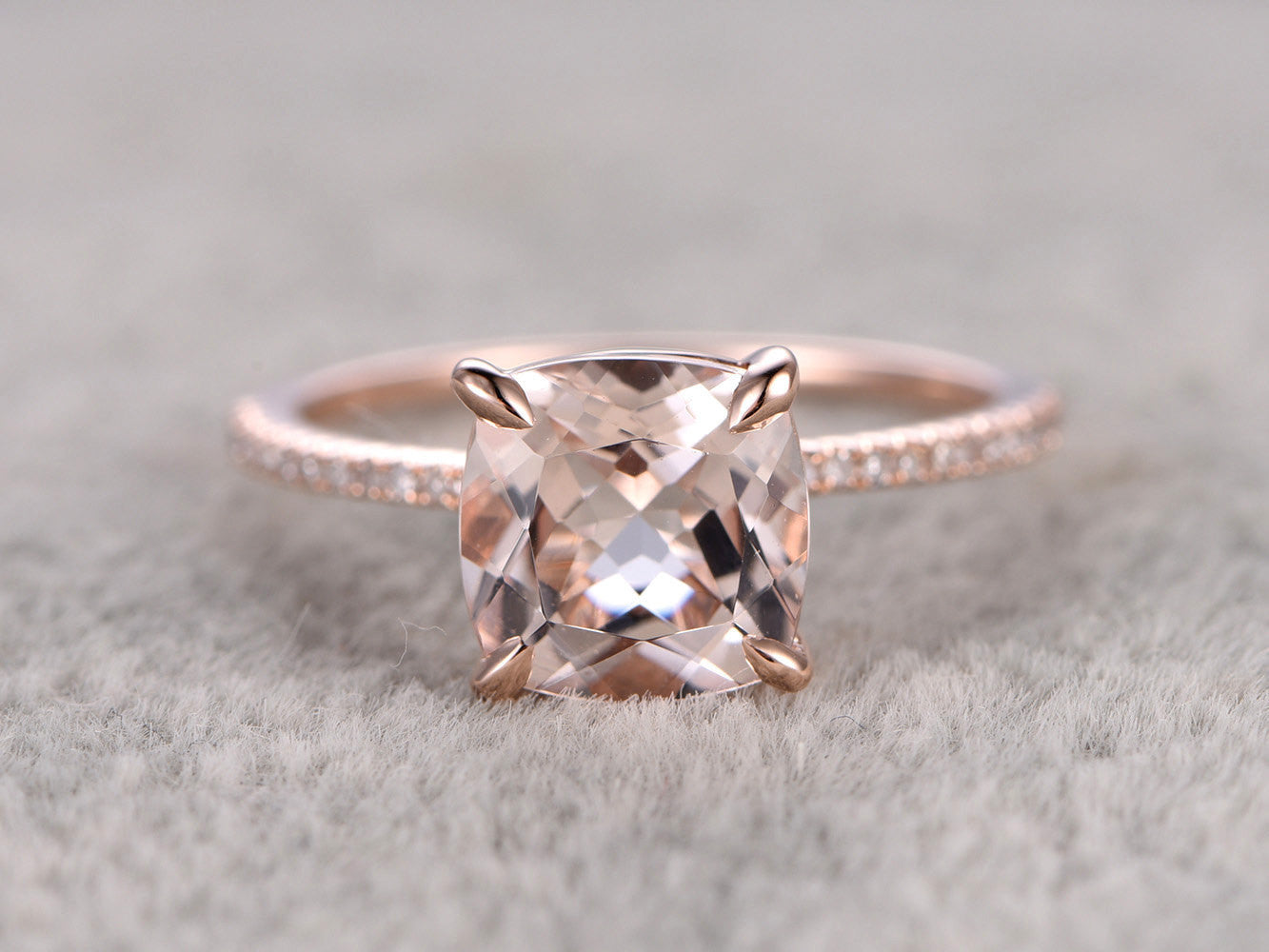 8mm Cushion Morganite Engagement ring Rose gold,Diamond wedding band,14k,Gemstone Promise Ring,Bridal Ring,Claw Prongs,custom made setting