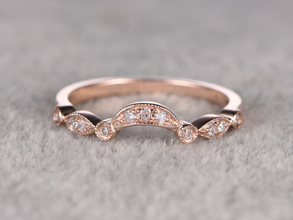 Diamond Eternity Wedding Band,14K Rose gold,Anniversary Ring,Art deco,Stackable,Curve,milgrain,0.15ct Round Cut SI/H Diamonds