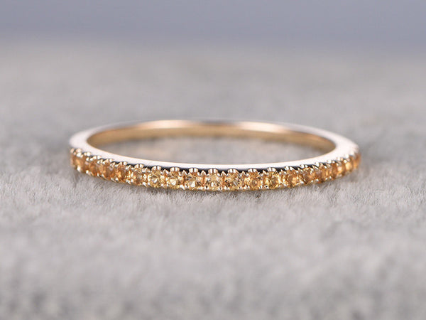 Yellow Citrine Wedding Ring,Solid 14K gold,Pave Set,Anniversary Ring,Half Eternity Band,stackable ring,Matching band,November BirthStone