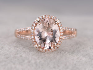 8x10mm Morganite Engagement ring Rose gold,Diamond wedding band,14k,Oval Cut,Gemstone Promise Bridal Ring,Claw Prongs,Split Shank,Pave Set