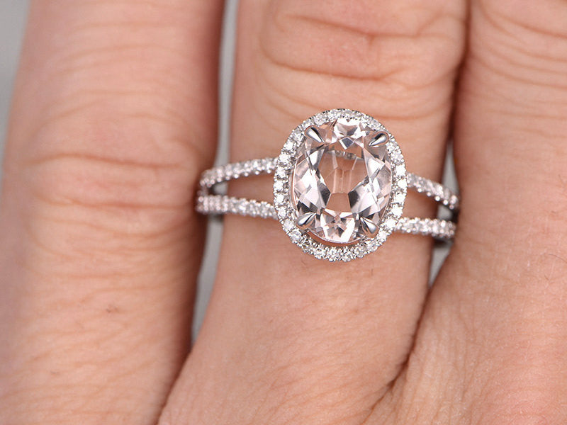 7x9mm Morganite Engagement ring White gold,Diamond wedding band,14k,Oval Cut,Gemstone Promise Bridal Ring,Claw Prongs,Pave Set,Handmade