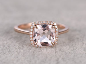 8x8mm Morganite Engagement ring Rose gold,Diamond Halo,Plain gold wedding band,14k,Cushion Cut,Gemstone Promise Bridal Ring,Claw Prongs