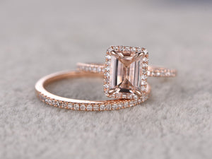 2 Morganite Ring Bridal Set,Engagement ring Rose gold,Diamond wedding band,14k,6x8mm Emerald Cut,Gemstone Promise Ring,Claw Prongs,Pave set