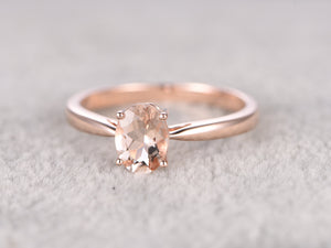 6x8mm Morganite Solitaire Engagement ring Rose gold,Diamond Halo,Plain gold wedding band,14k,Oval Cut,Gemstone Promise Bridal Ring,Prongs