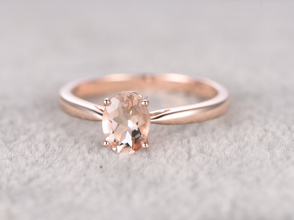 6x8mm Morganite Solitaire Engagement ring Rose gold,Diamond Halo,Oval Cut