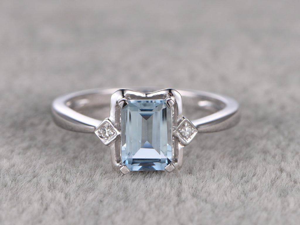 1.02ctw Aquamarine Engagement ring,VS Diamond wedding band,14K Gold,Gemstone Promise Ring,Bridal Ring,Emerald Cut IF Blue Aquamarine,Prong