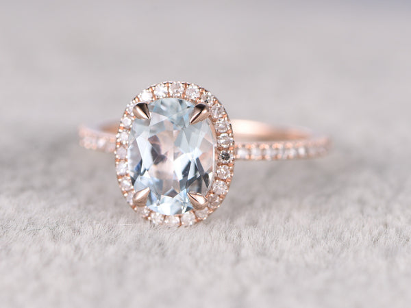 Natural Blue Aquamarine Ring! Engagement ring Rose gold with Diamond,Bridal ring,14k,6x8mm Oval Cut,Blue Stone Gemstone Promise Ring,Halo