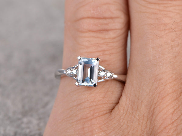 Emerald Cut Aquamarine Engagement ring,Diamond accent,14K Gold,IF Blue,Propose ring,Prong set