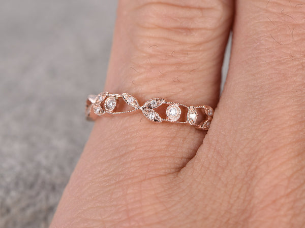 Natural Diamonds,Full Eternity Wedding Ring,14K Rose gold,Anniversary Ring,Art Deco,Vintage Floral,stackable,milgrain,Stacking ring, band