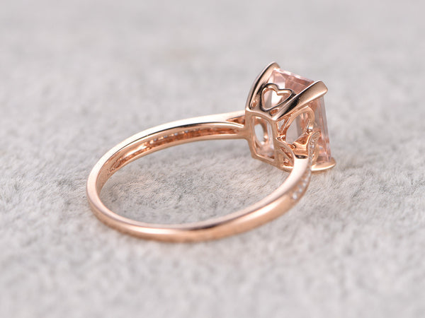 7x9mm Morganite Engagement ring Rose gold,Diamond wedding band,14k,Emerald Cut,Gemstone Promise Bridal Ring,Prongs,Pave Set,Handmade