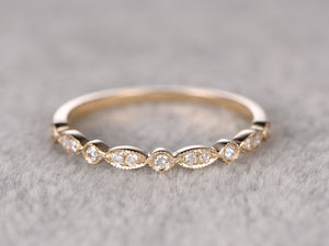 Natural Diamonds,Half Eternity Wedding Ring,Solid 14K Yellow gold,Anniversary Ring,Art deco Marquise style,stacking,milgrain,Matching band
