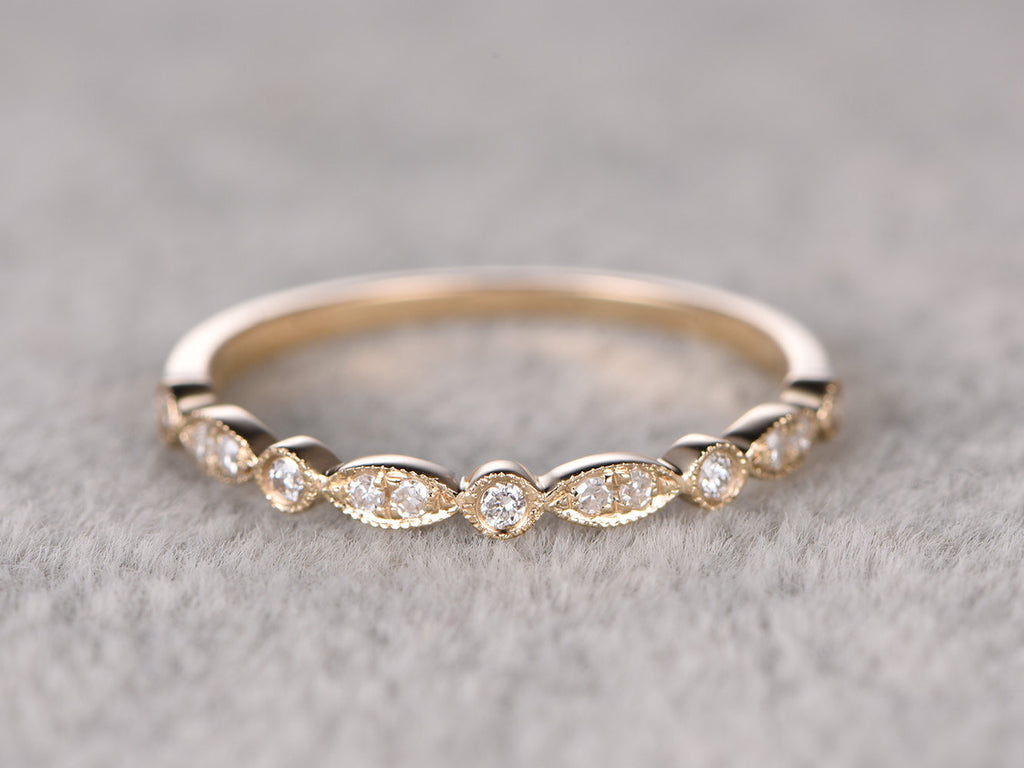White Sapphire,Half Eternity Wedding Ring,Solid 14K Yellow gold,Anniversary Ring,Art deco Marquise style,stacking,milgrain,Matching band