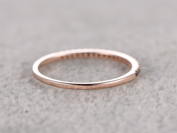 Thin design,Black Diamond Wedding Ring,14K Rose gold,Anniversary Ring,Half Eternity Band,stackable ring,milgrain,Matching band,Micro pave