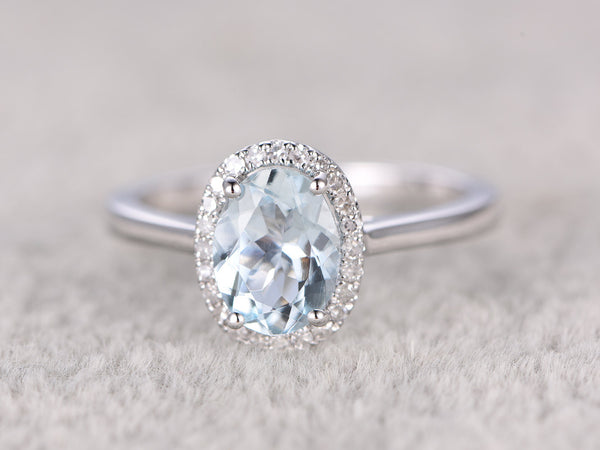 6x8mm Oval Aquamarine Engagement ring,Diamond wedding band,14K White Gold,Gemstone Promise Ring,Bridal Ring,IF Blue Aquamarine,Fashion Halo