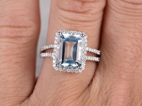 Big Aquamarine Engagement ring,10x12mm Emerald Cut Stone, 0.45ct Diamond wedding band,14K White gold,Split shank